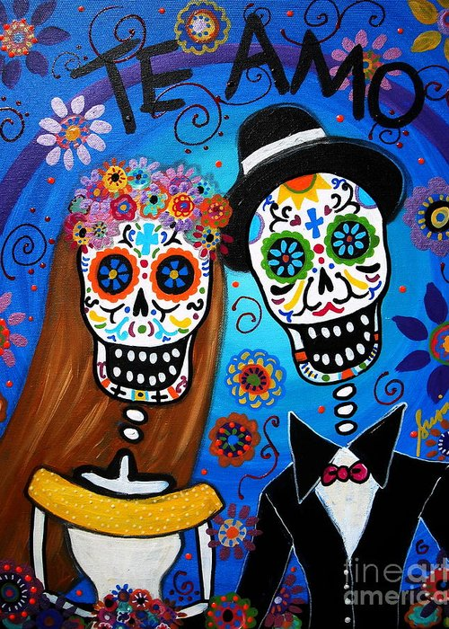 Wedding Greeting Card featuring the painting Wedding Couple by Pristine Cartera Turkus