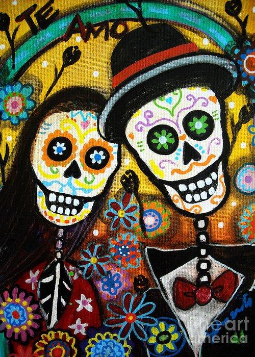 Dia Greeting Card featuring the painting Wedding Dia De Los Muertos by Pristine Cartera Turkus