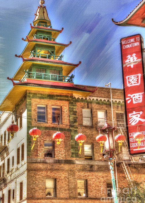 Architectural Detail Greeting Card featuring the photograph Welcome To Chinatown by Juli Scalzi