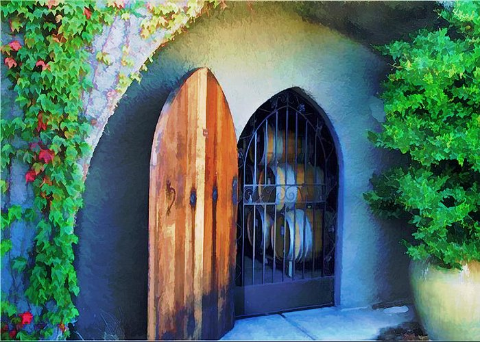 Wine Greeting Card featuring the painting Welcome To The Winery by Elaine Plesser