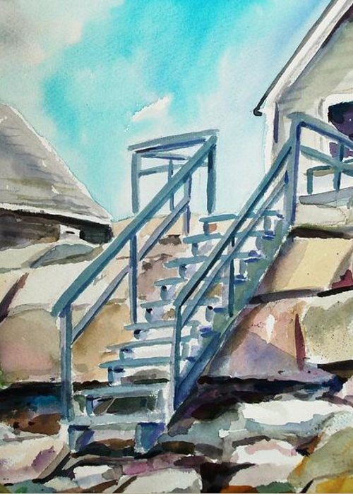 Wells Beach Greeting Card featuring the painting Wells Beach Beach Stairs by Scott Nelson