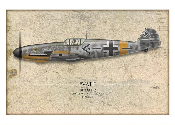 Aviation Greeting Card featuring the painting Werner Molders Messerschmitt Bf-109 - Map Background by Craig Tinder