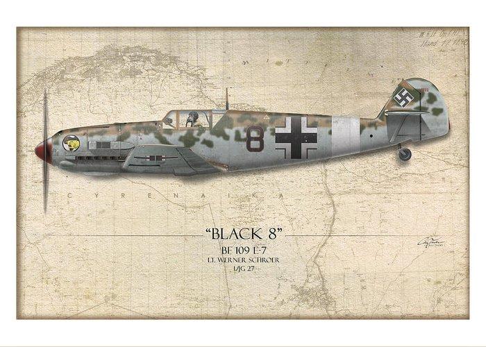 Aviation Greeting Card featuring the painting Werner Schroer Messerschmitt Bf-109 - Map Background by Craig Tinder