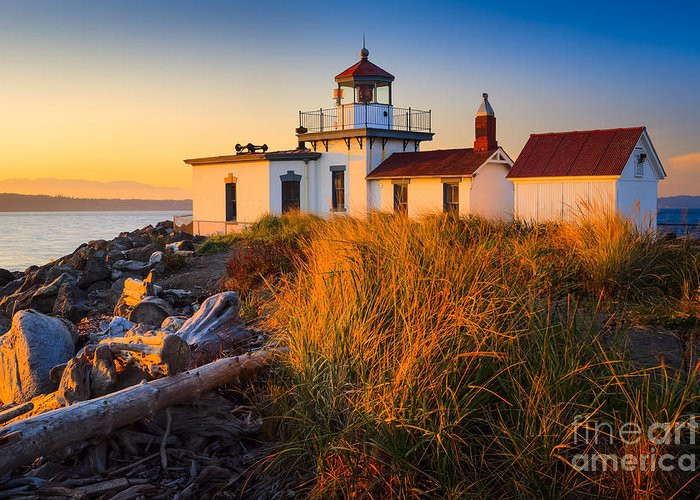 America Greeting Card featuring the photograph West Point Lighthouse by Inge Johnsson