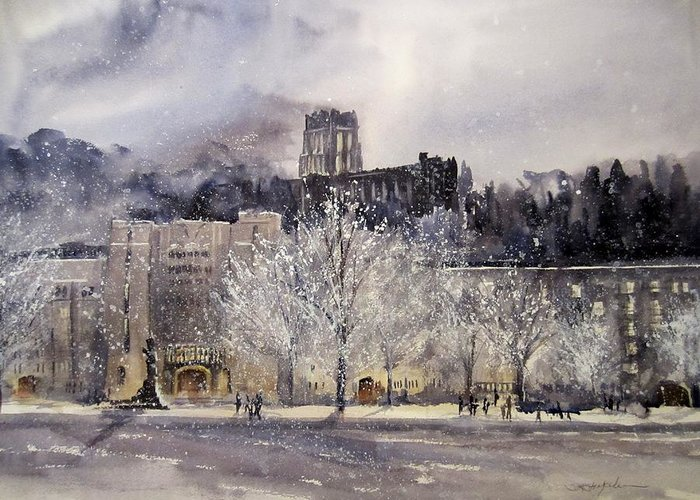 West Point Greeting Card featuring the painting West Point Winter by Sandra Strohschein