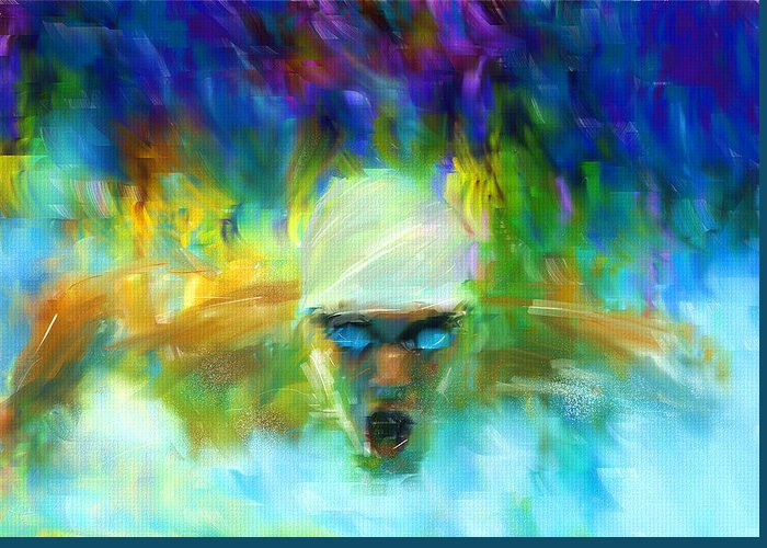 Swimming Greeting Card featuring the digital art Wet And Wild by Lourry Legarde