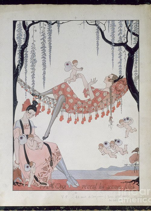 Female Greeting Card featuring the painting What Do Young Women Dream Of? by Georges Barbier