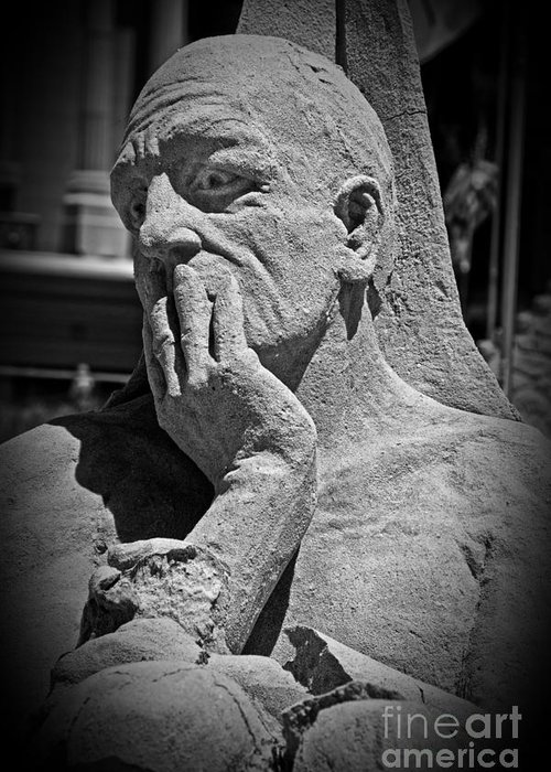 Statue Greeting Card featuring the photograph What Have I Done by Tom Gari Gallery-Three-Photography