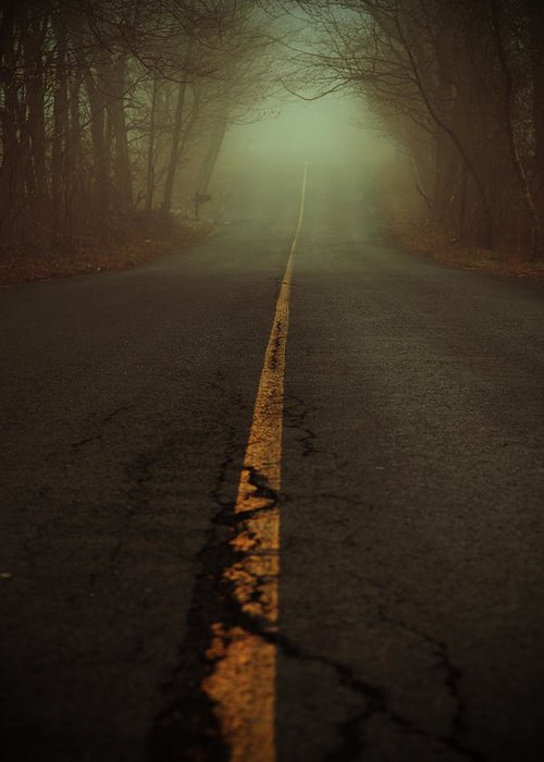 Fog Greeting Card featuring the photograph What Lies Ahead by Karol Livote