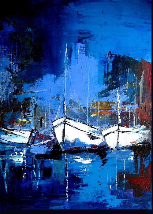 Boat Greeting Card featuring the painting When Evening Comes by Elise Palmigiani