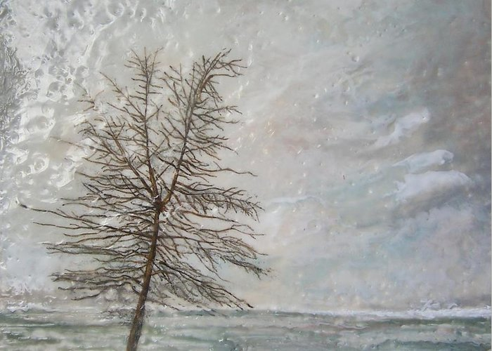 Winter Tree Greeting Card featuring the painting When Grey Matters by Victoria Primicias