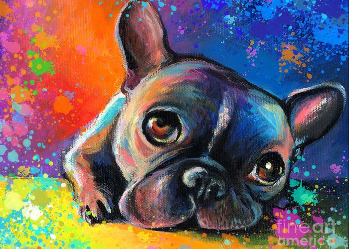 French Bulldog Prints Greeting Card featuring the painting Whimsical Colorful French Bulldog by Svetlana Novikova