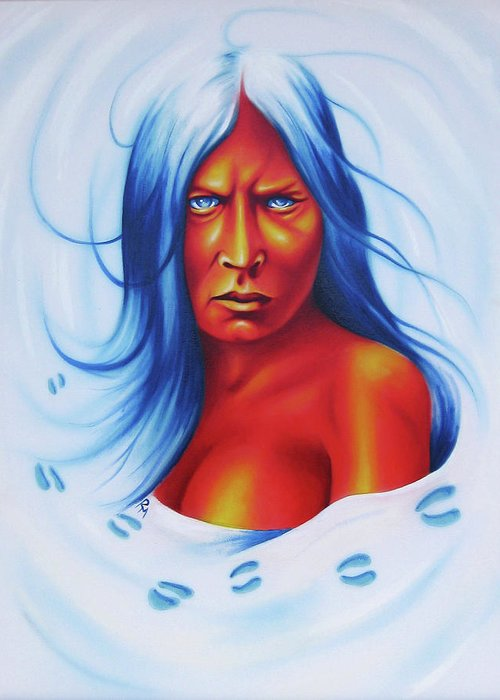 Native American Art Greeting Card featuring the painting Whirlwind Woman by Robert Martinez