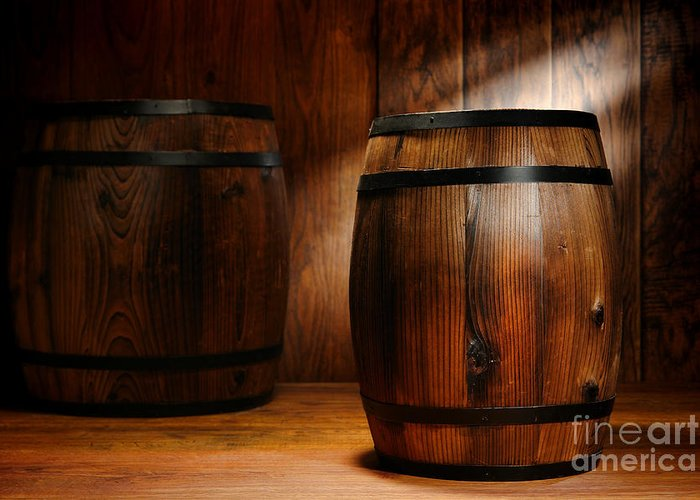 Barrel Greeting Card featuring the photograph Whisky Barrel by Olivier Le Queinec