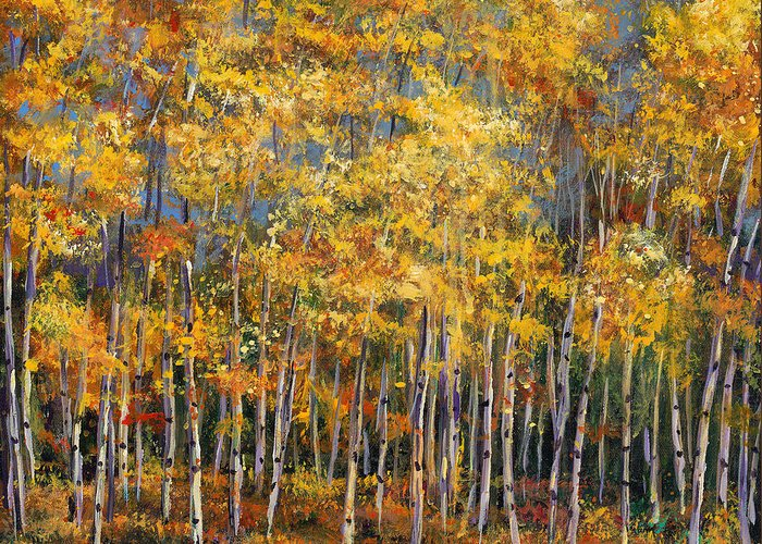 Autumn Aspen Greeting Card featuring the painting Whispers And Secrets by Johnathan Harris