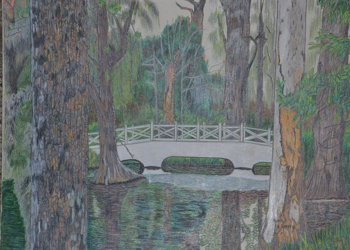 A Landscape Showing A White Bridge In A Swamp.the Area Was In Charlotte Greeting Card featuring the drawing White Bridge by Dave Smith