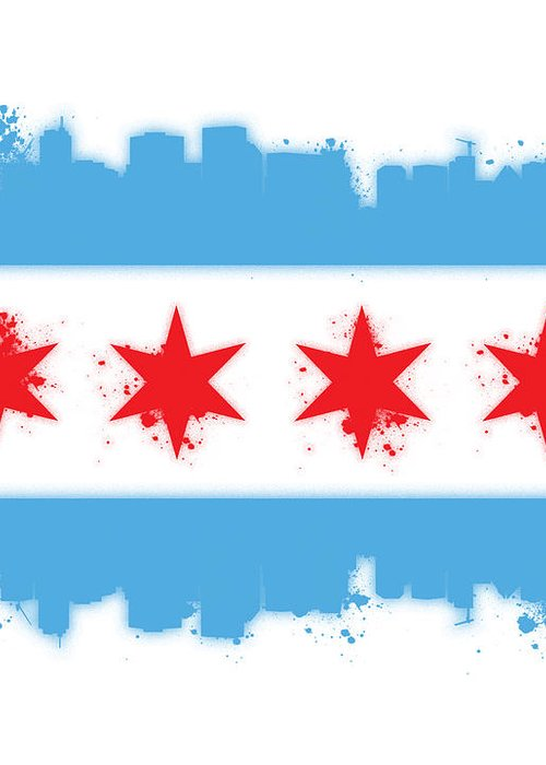 Chicago Greeting Card featuring the digital art White Chicago Flag by Mike Maher