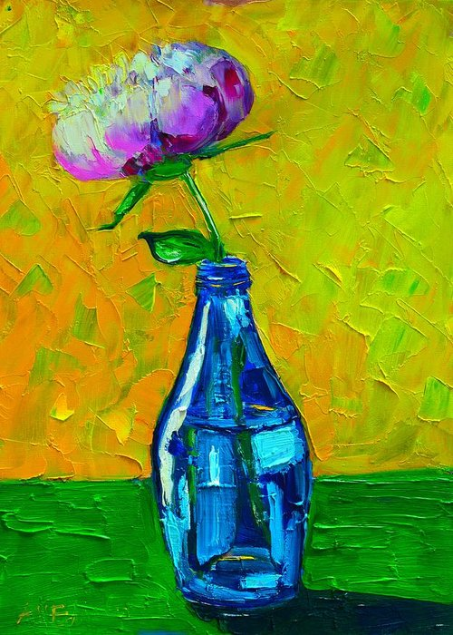 Floral Greeting Card featuring the painting White Peony Into A Blue Bottle by Ana Maria Edulescu