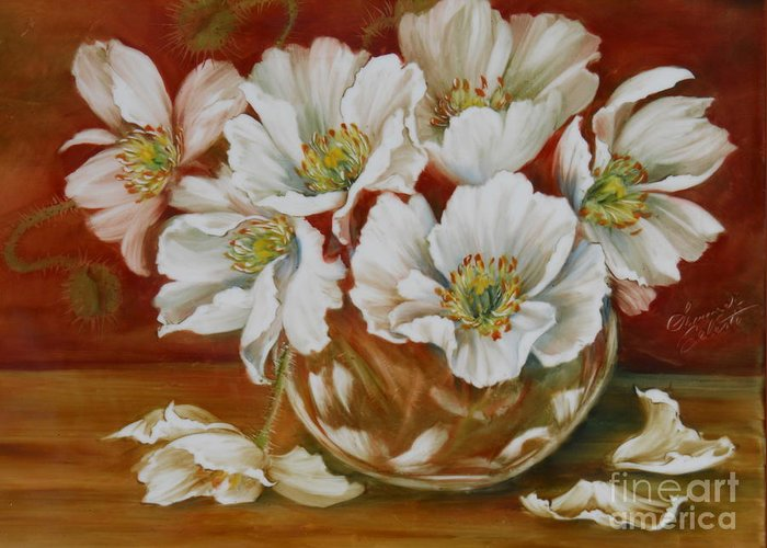 Poppies Greeting Card featuring the painting White Poppies by Summer Celeste