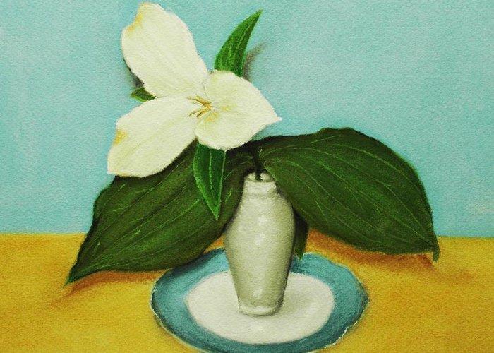 Wild Flower Greeting Card featuring the painting White Trillium by Anastasiya Malakhova