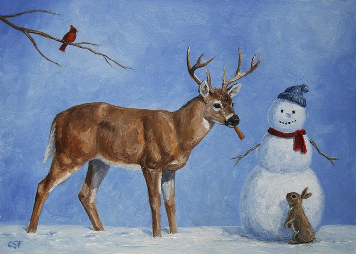 Christmas Greeting Card featuring the painting Whitetail Deer And Snowman - Whose Carrot? by Crista Forest