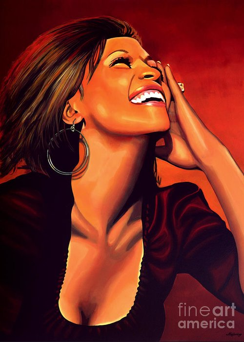Whitney Houston Greeting Card featuring the painting Whitney Houston by Paul Meijering