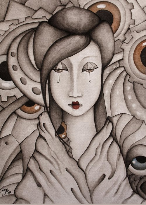 Geisha Greeting Card featuring the painting Who Am I by Simona Mereu