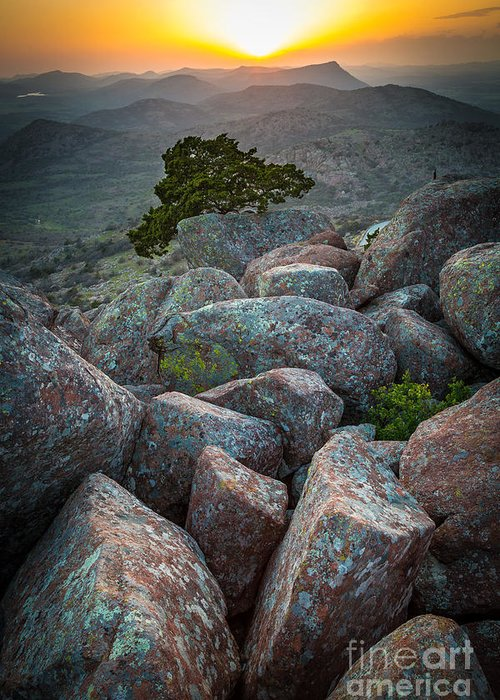 America Greeting Card featuring the photograph Wichita Mountains by Inge Johnsson