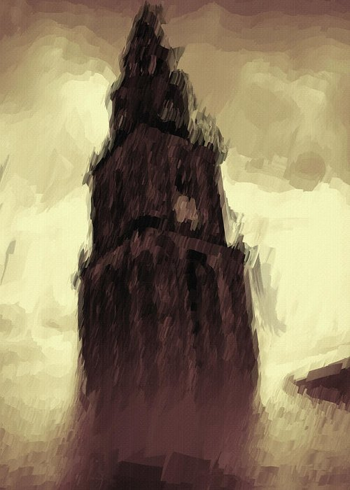 Tower Greeting Card featuring the painting Wicked Tower by Ayse Deniz