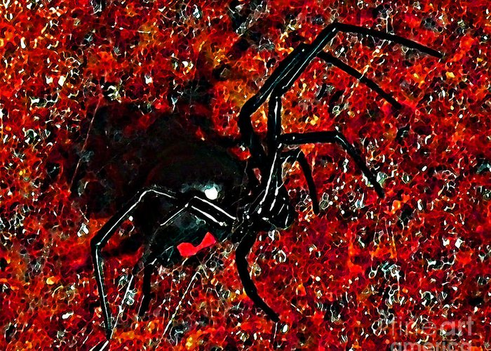Black Widow Spider Greeting Card featuring the photograph Wicked Widow - Rouge by Al Powell Photography USA