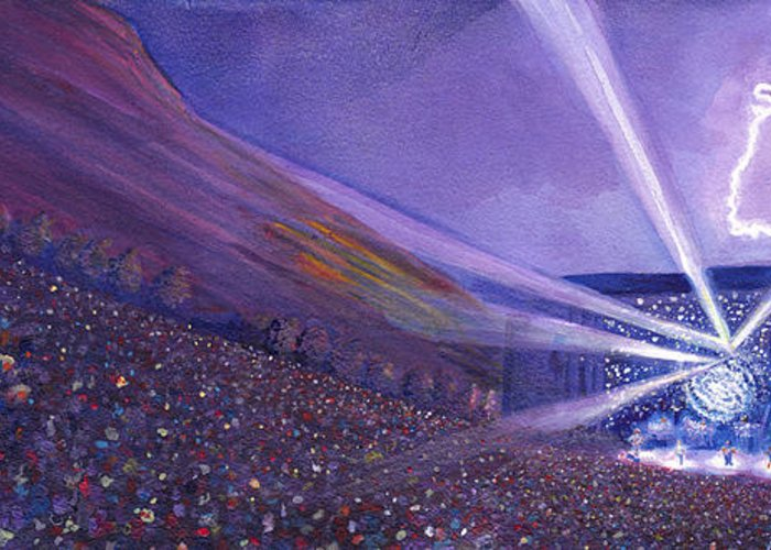 Widespread Panic Greeting Card featuring the painting Widespread Panic Redrocks Lighting by David Sockrider
