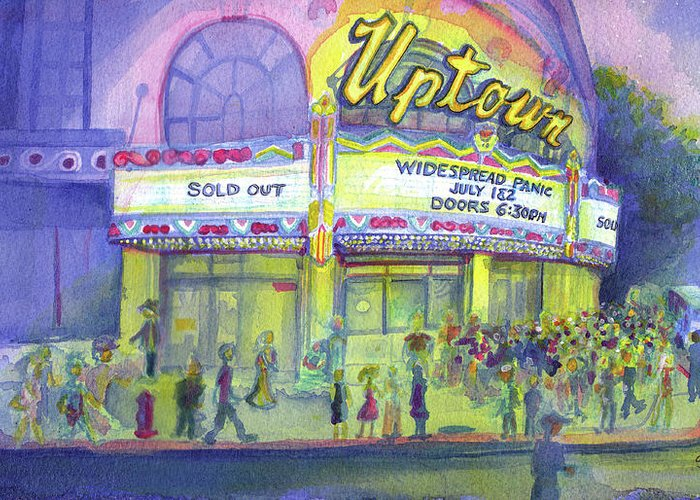 Widespread Panic Greeting Card featuring the painting Widespread Panic Uptown Theatre by David Sockrider