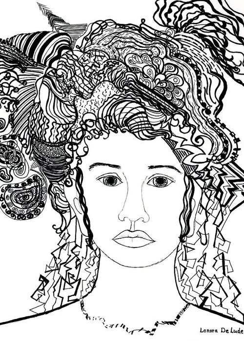 Drawing Greeting Card featuring the drawing Wild Hair Portrait In Shapes And Lines by Lenora De Lude