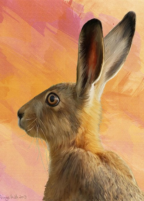 A Painted Hare Greeting Card featuring the painting Wild Hare by Tanya Hall