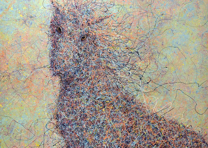 Wild Horse Greeting Card featuring the painting Wild Horse by James W Johnson