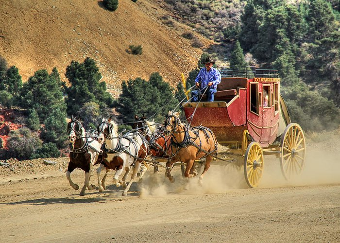 Stagecoach Greeting Card featuring the photograph Wild West Ride 2 by Donna Kennedy