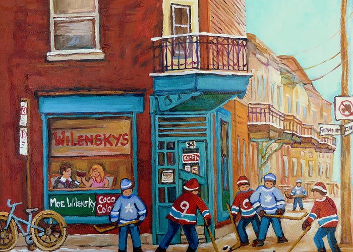 Wilensky's Montreal Greeting Card featuring the painting Wilensky Montreal-fairmount And Clark-montreal City Scene Painting by Carole Spandau