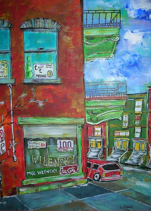Litvack Greeting Card featuring the painting Wilensky's Corner by Michael Litvack