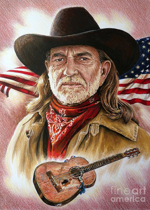Willie Nelson Greeting Card featuring the painting Willie Nelson American Legend by Andrew Read
