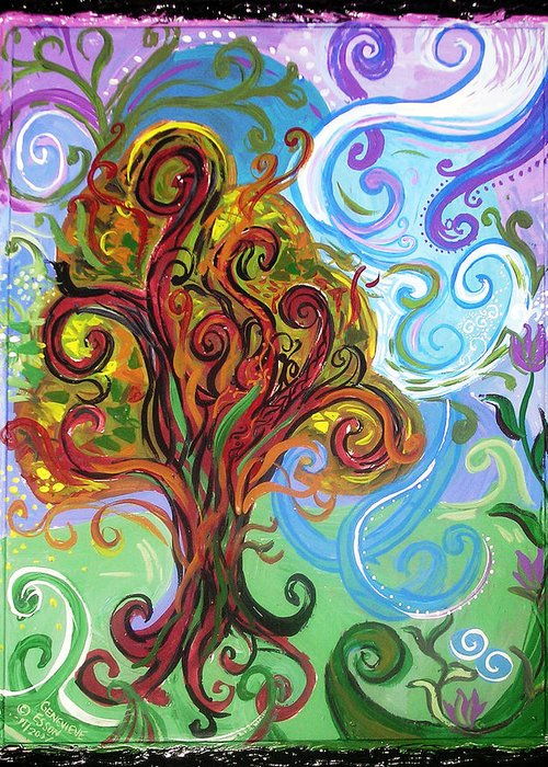 Tree Greeting Card featuring the painting Winding Tree by Genevieve Esson