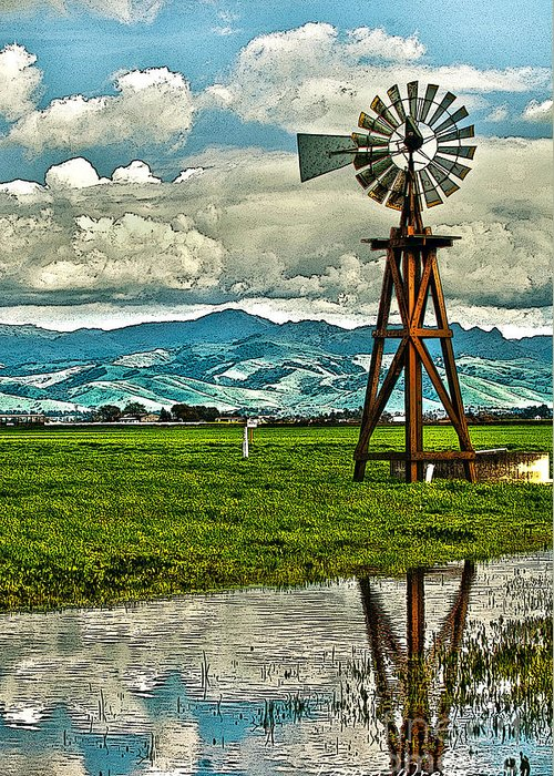 Windmill Greeting Card featuring the photograph Windmill On The Hills by Artist and Photographer Laura Wrede