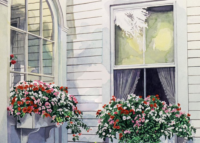Watercolor Greeting Card featuring the painting Window Boxes by David Lloyd Glover