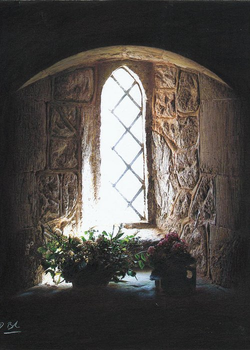 Interior Greeting Card featuring the drawing Window Solitude by Darren Baker