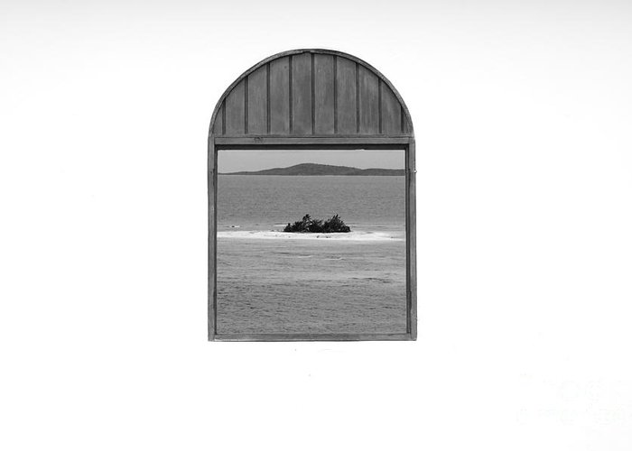Puerto Rico Greeting Card featuring the photograph Window View Of Desert Island Puerto Rico Prints Black And White by Shawn O'Brien