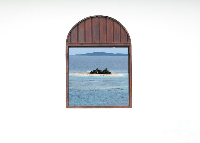 Puerto Rico Greeting Card featuring the photograph Window View Of Desert Island Puerto Rico Prints by Shawn O'Brien