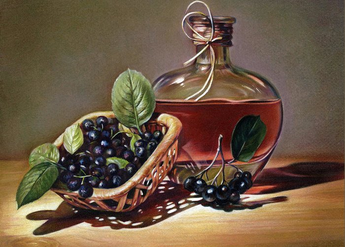 Wine Greeting Card featuring the drawing Wine And Berries by Natasha Denger