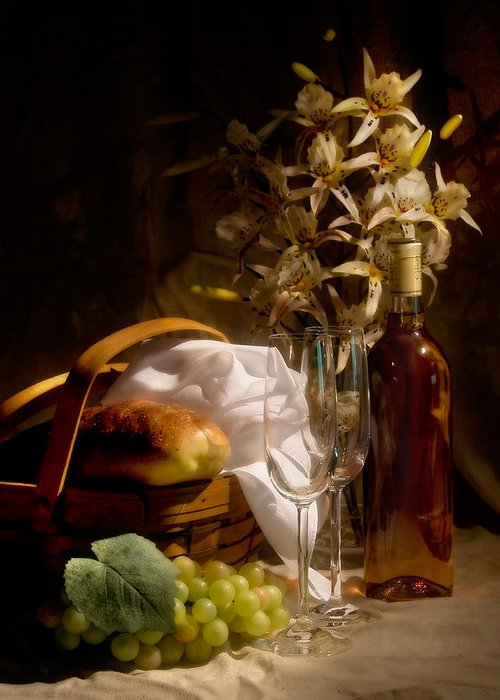 Wine Greeting Card featuring the photograph Wine And Romance by Tom Mc Nemar