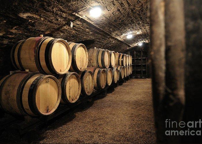 Barrel Greeting Card featuring the photograph Wine Barrels In A Cellar. Cote D'or. Burgundy. France. Europe by Bernard Jaubert