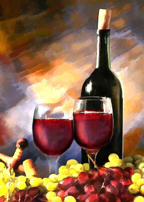 Wine Greeting Card featuring the painting Wine Before And After by Elaine Plesser