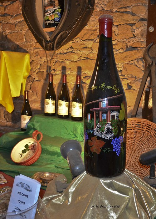 Wine Greeting Card featuring the photograph Wine Bottle On Display by Allen Sheffield